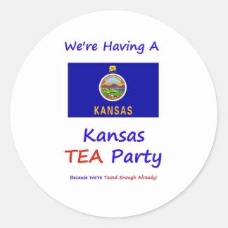 Kansas TEA Party - We're Taxed Enough Already! Classic Round Sticker