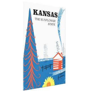"Kansas ""the sunflower state"" vintage travel poster canvas print"