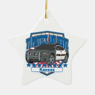 Kansas To Protect and Serve Police Squad Car Ceramic Ornament