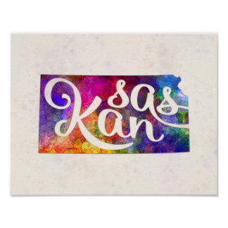 Kansas U.S. State in watercolor text cut out Poster