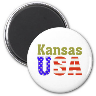 Kansas USA! 2 Inch Round Magnet