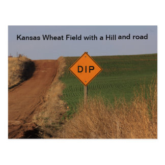 Kansas Wheat Field with a hill and road Post Card! Postcard