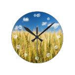 Kansas Wheat Round Clocks