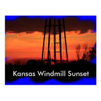 Kansas Windmill Sunset POST CARD