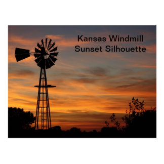 Kansas Windmill Sunset Silhouette Postcard