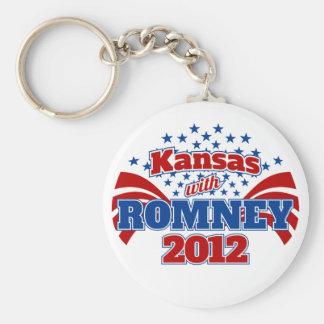 Kansas with Romney 2012 Basic Round Button Keychain