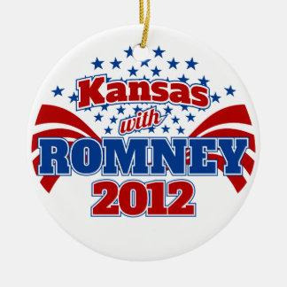 Kansas with Romney 2012 Ceramic Ornament