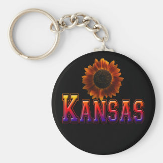 Kansas with Sunflower Basic Round Button Keychain