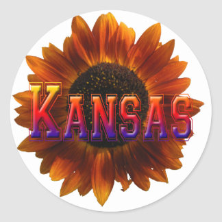 Kansas with Sunflower Classic Round Sticker