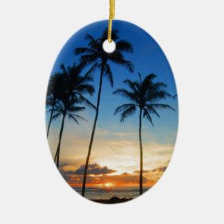 Kapaa Kauai Hawaii Double-Sided Oval Ceramic Christmas Ornament