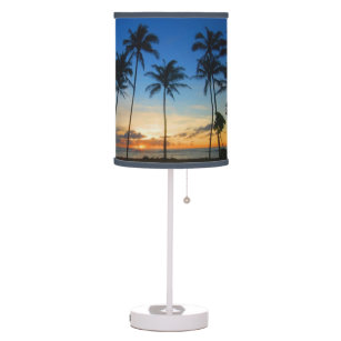 Palm tree table pendant lamps zazzle kapaa sunrise kauai hawaii table lamp mozeypictures Images