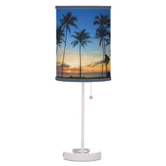 Tropical palm tree table pendant lamps zazzle kapaa sunrise kauai hawaii table lamp mozeypictures Images