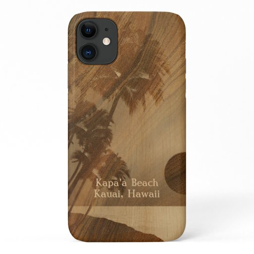 Kapaa Sunset Hawaiian Faux Koa Wood iPhone 11 Case