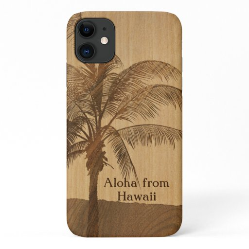Kapaa Sunset Hawaiian Faux Koa Wood Single Palm iPhone 11 Case