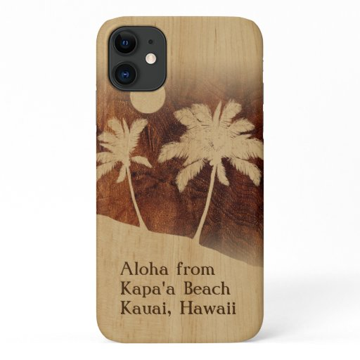 Kapaa Sunset Hawaiian Faux Koa Wood Twin Palm iPhone 11 Case