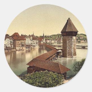 Kapellbrucke and Wasserturm Lucerne Switzerland Stickers
