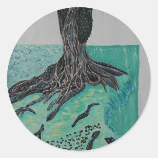 Kapok árbol 8 de marzo pegatina redonda