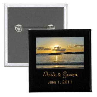 Kapolei Beach Bride & Groom Button