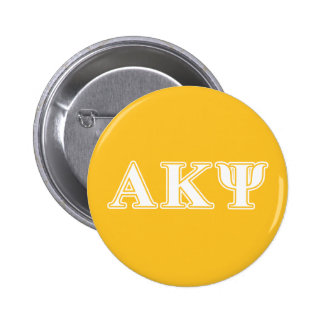 Kappa alfa letras blancas y amarillas de la PSI Pin Redondo De 2 Pulgadas