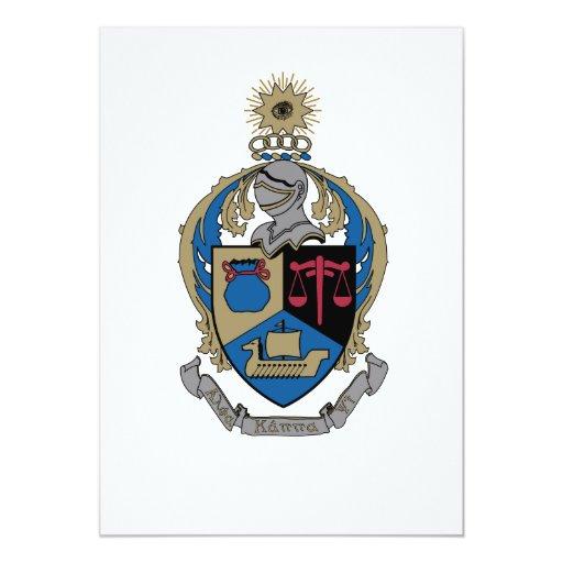 Kappa alfa PSI - escudo de armas Invitación 12,7 X 17,8 Cm