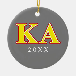 Kappa Alpha Order Red and Yellow Letters Ceramic Ornament