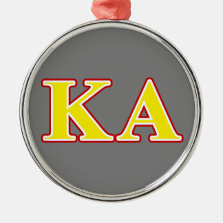 Kappa Alpha Order Red and Yellow Letters Metal Ornament