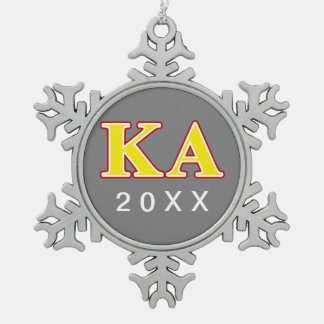 Kappa Alpha Order Red and Yellow Letters Snowflake Pewter Christmas Ornament