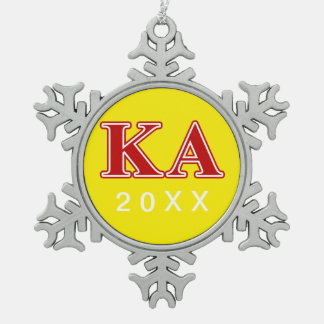 Kappa Alpha Order Red Letters Snowflake Pewter Christmas Ornament