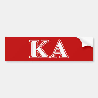 Kappa Alpha Order White and Red Letters Car Bumper Sticker