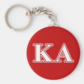 Kappa Alpha Order White and Red Letters Keychain