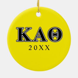 Kappa Alpha Theta Black Letters Ceramic Ornament