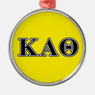 Kappa Alpha Theta Black Letters Metal Ornament