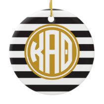 Kappa Alpha Theta | Monogram Stripe Pattern Ceramic Ornament
