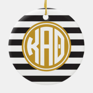 Kappa Alpha Theta | Monogram Stripe Pattern Ceramic Ornament