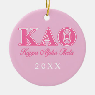 Kappa Alpha Theta Pink Letters Ceramic Ornament