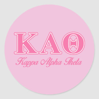 Kappa Alpha Theta Pink Letters Classic Round Sticker
