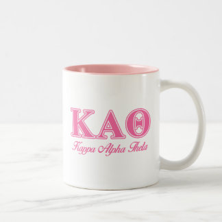 Kappa Alpha Theta Pink Letters Two-Tone Coffee Mug