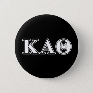 Kappa Alpha Theta White and Black Letters Button