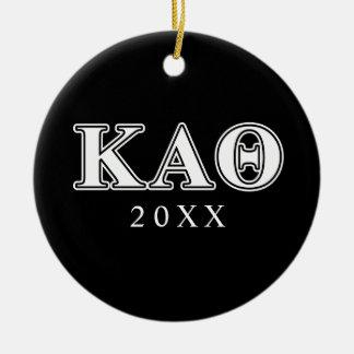Kappa Alpha Theta White and Black Letters Ceramic Ornament