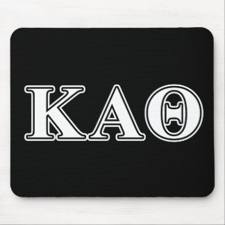 Kappa Alpha Theta White and Black Letters Mouse Pad