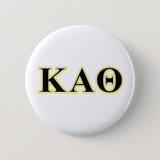 Kappa Alpha Theta Yellow and Black Letters Button