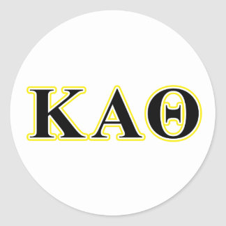 Kappa Alpha Theta Yellow and Black Letters Classic Round Sticker