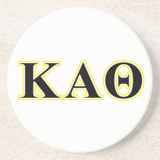 Kappa Alpha Theta Yellow and Black Letters Drink Coaster