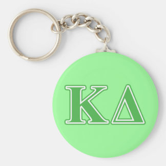 Kappa Delta Green Letters Basic Round Button Keychain