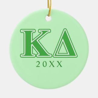 Kappa Delta Green Letters Ceramic Ornament