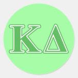 Kappa Delta Green Letters Classic Round Sticker