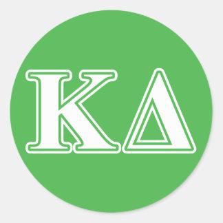 kappa delta white letters classic round sticker