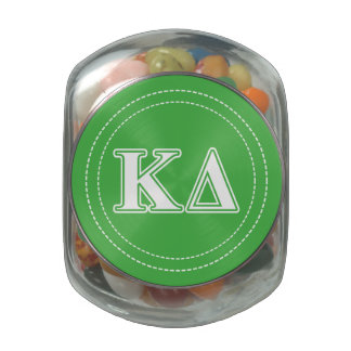 Kappa Delta White Letters Glass Candy Jar