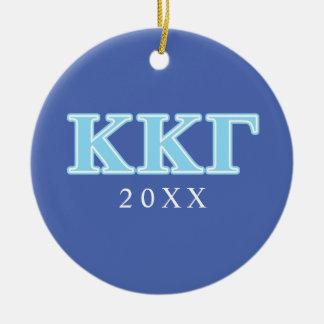Kappa Kappa Gamma Baby Blue Letters Ceramic Ornament