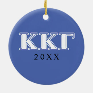 Kappa Kappa Gamma White and Royal Blue Letters Ceramic Ornament